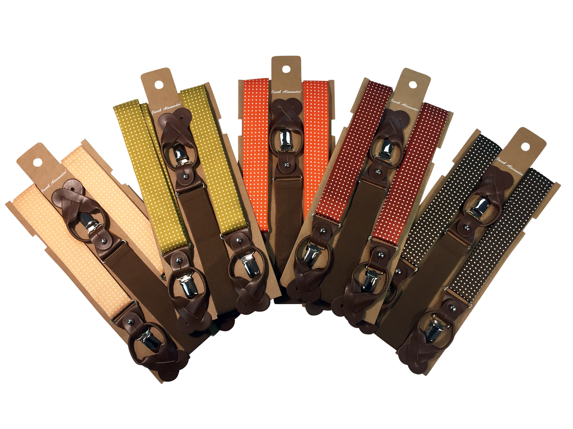 Jacob Alexander Men/'s Polka Dot Suspenders Convertible Leather Ends and Clips