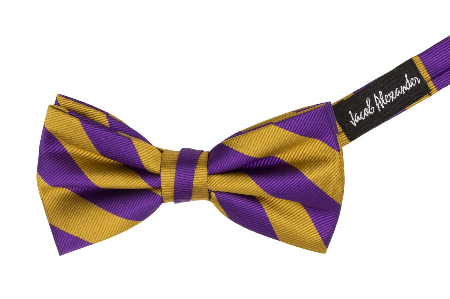 Jacob-Alexander-Stripe-Woven-Men-039-s-College-Striped-Pretied-Bowtie thumbnail 14