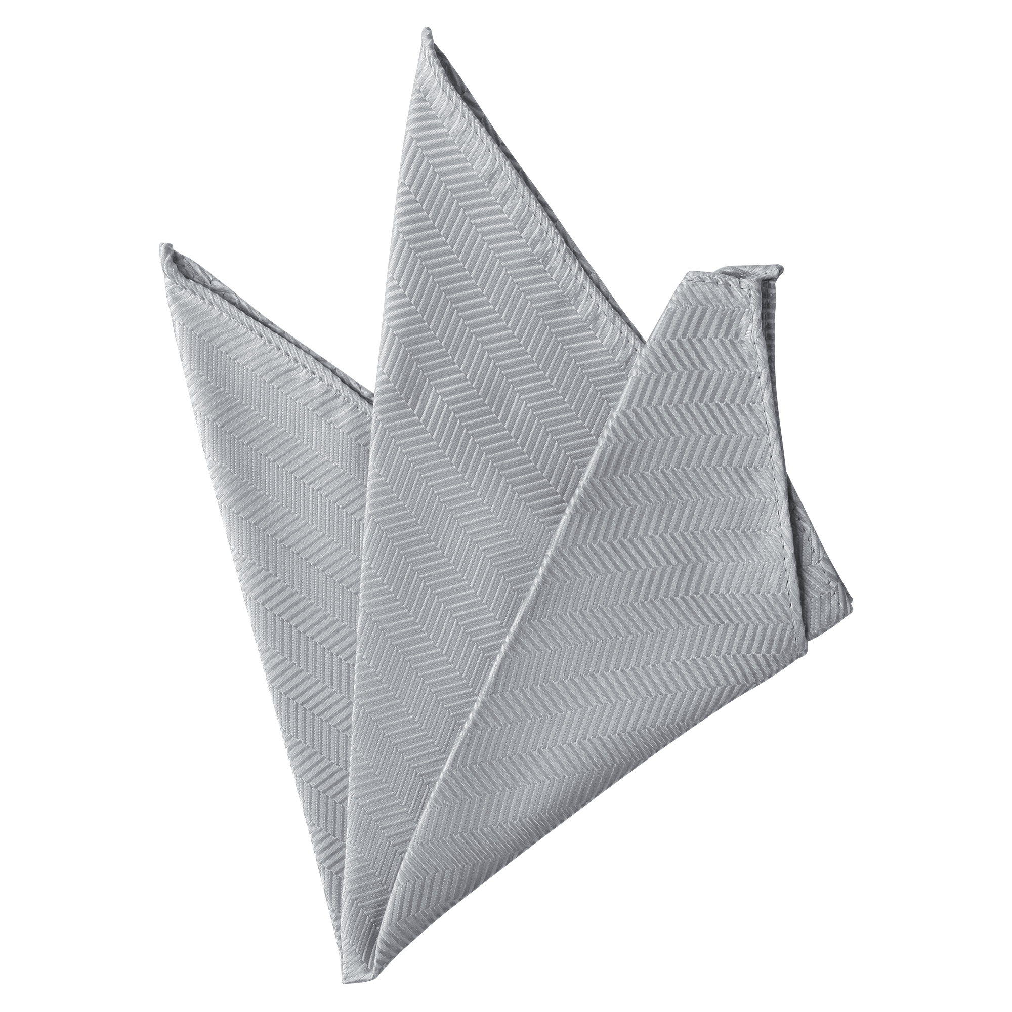 Silver Jacob Alexander Mens Tone on Tone Herringbone Pocket Square