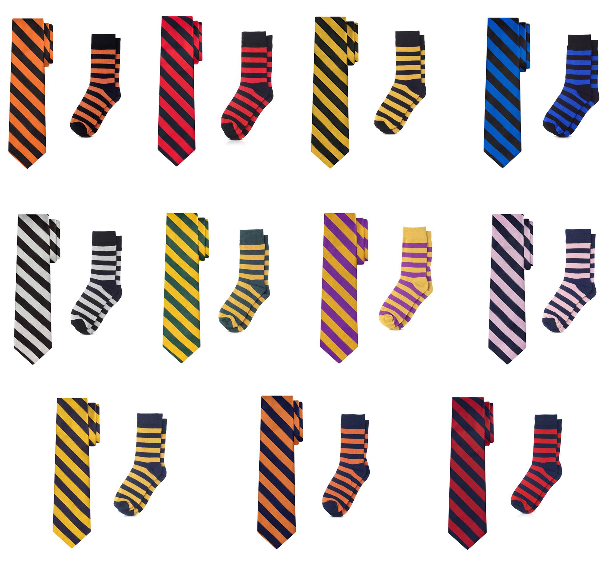 Jacob Alexander Matching College Stripe Dress Socks and Tie