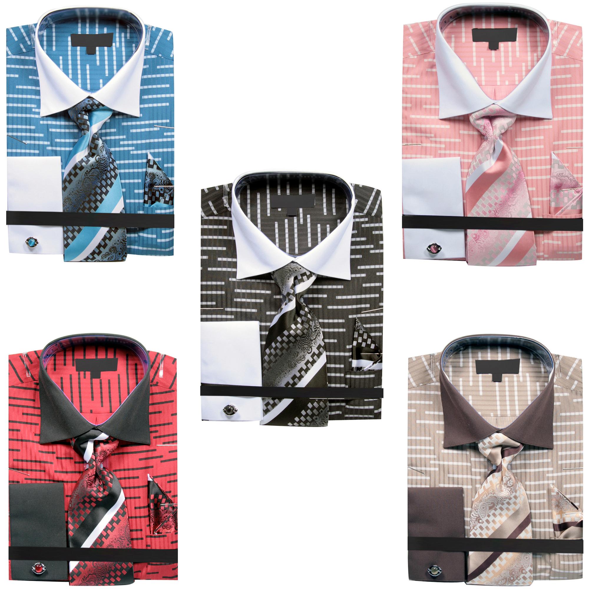Mens Dress Shirt In Broken Stripes Design With Tie Handkerchief
