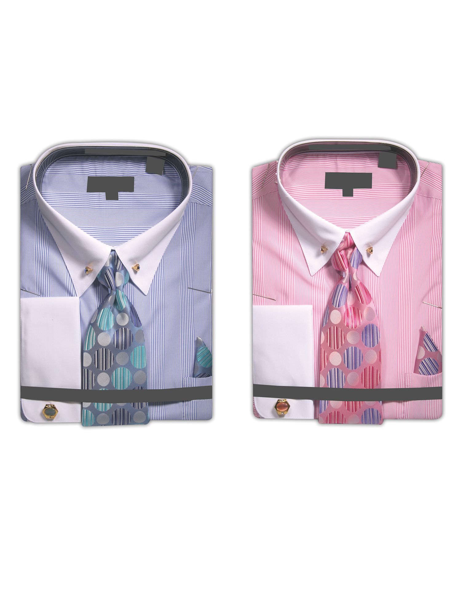 Men/'s Micro White Stripe Dress Shirt French Cuffs Tie Hanky Cufflinks Collar Bar