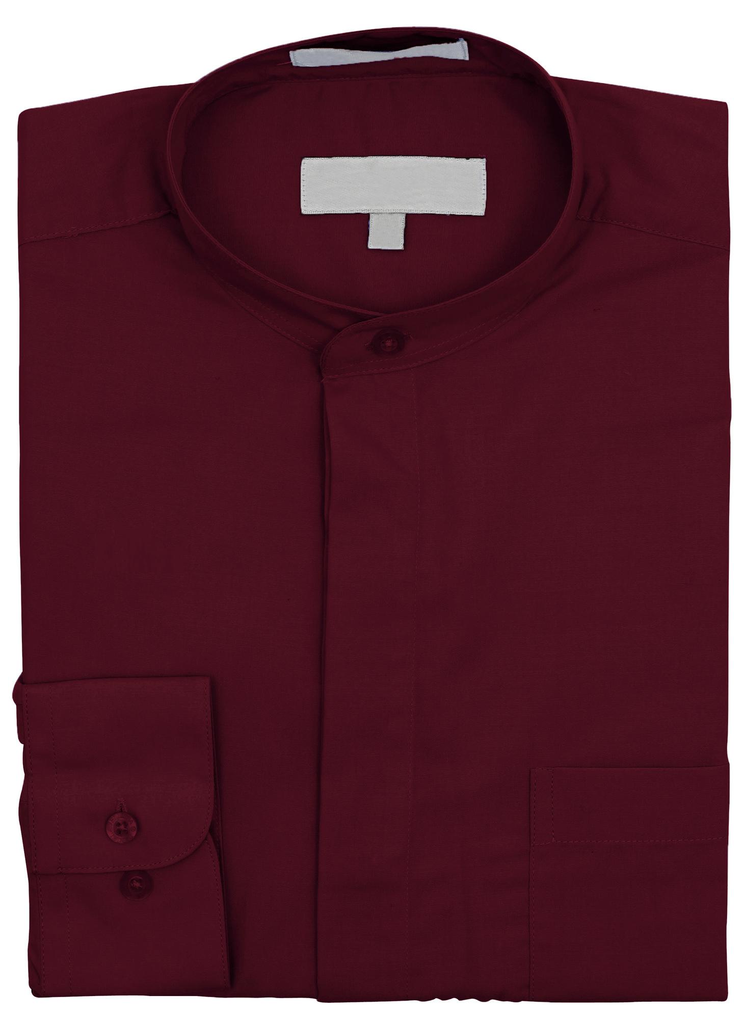 Men-039-s-Collarless-Banded-Collar-Dress-Shirt