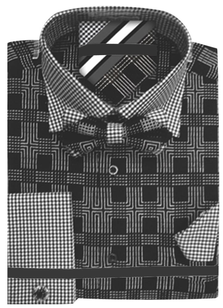 Men-039-s-Plaid-Dress-Shirt-Neck-Tie-Bow-Tie-Hanky-Cufflinks-Set thumbnail 3