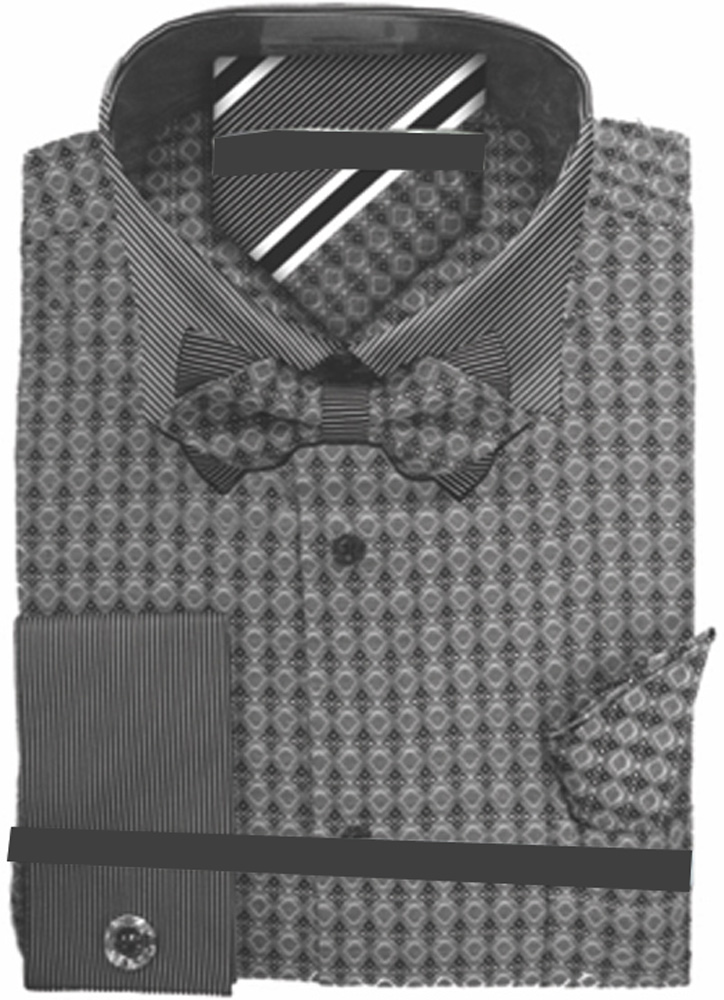 Men-039-s-Plaid-Dress-Shirt-Neck-Tie-Bow-Tie-Hanky-Cufflinks-Set thumbnail 7