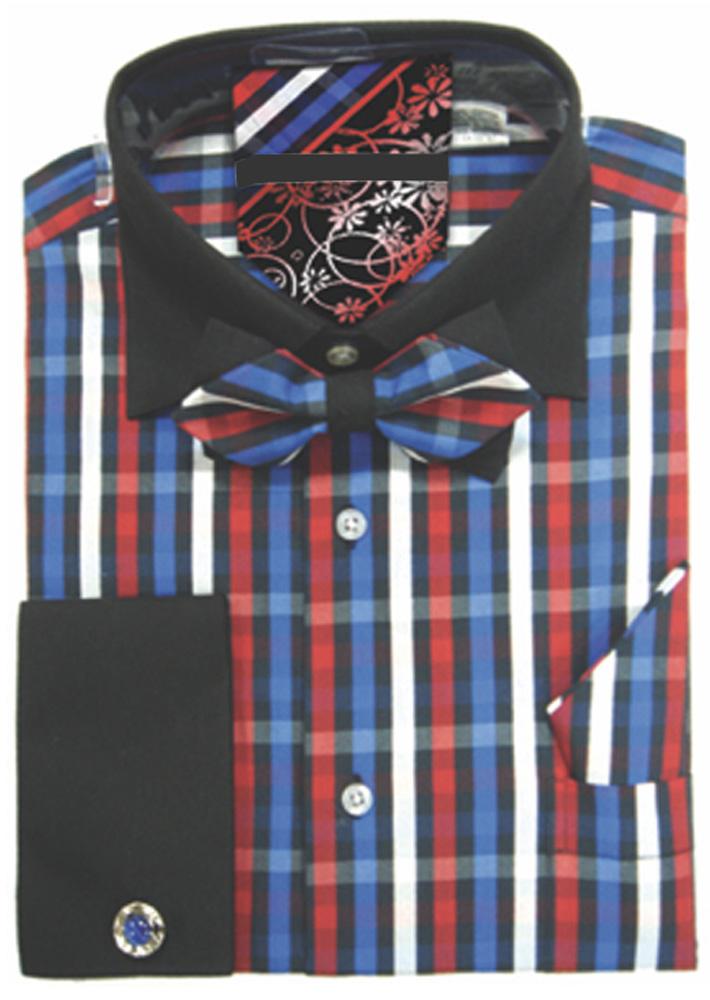 Men-039-s-Plaid-Dress-Shirt-Neck-Tie-Bow-Tie-Hanky-Cufflinks-Set thumbnail 10