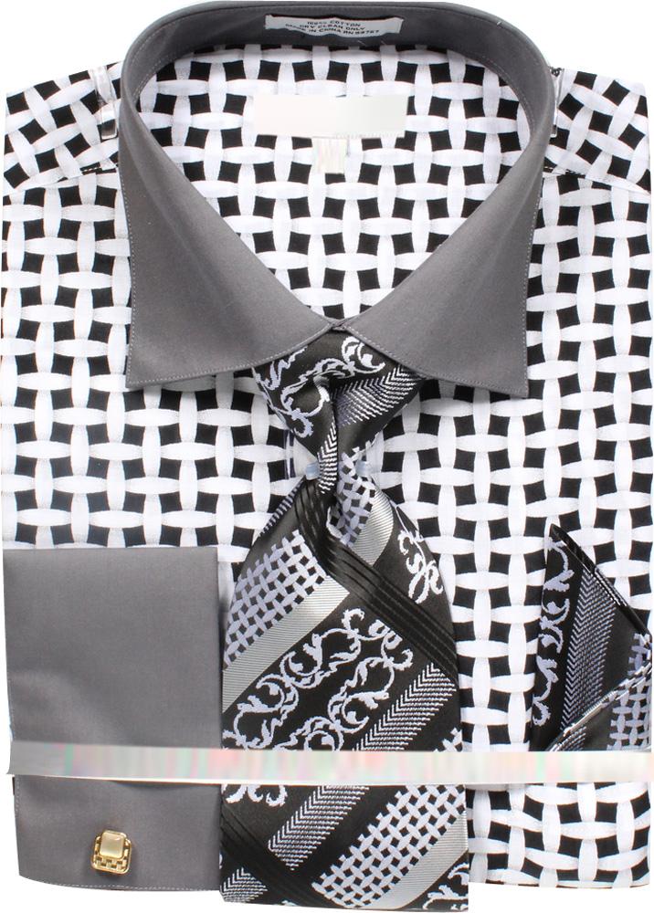 Men-039-s-Lattice-Work-Pattern-Dress-Shirt-French-Cuffs-Tie-Hanky-Cufflinks thumbnail 5
