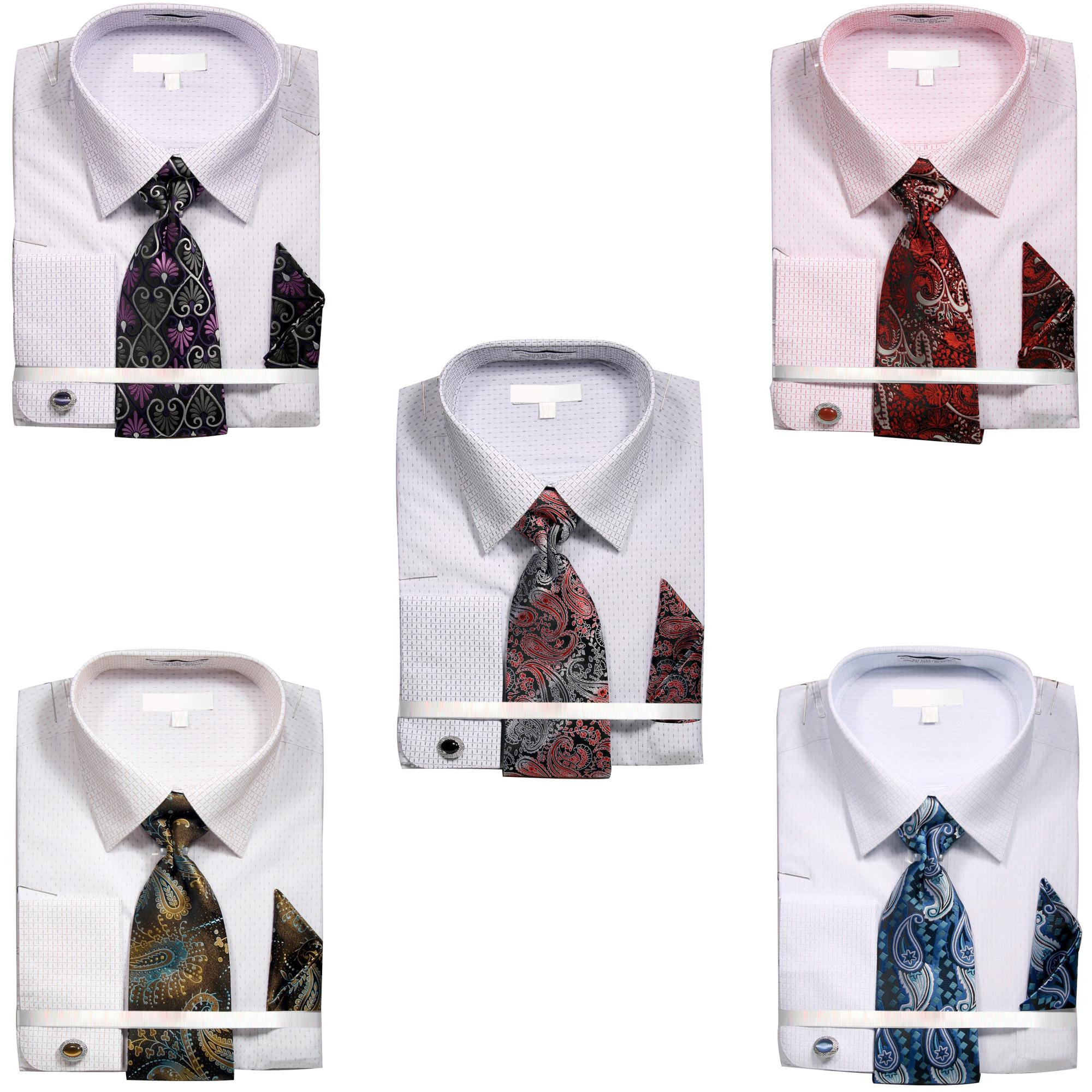 Handkerchief and Cufflinks Men/'s Fashion French Cuff Dress Shirt with Tie