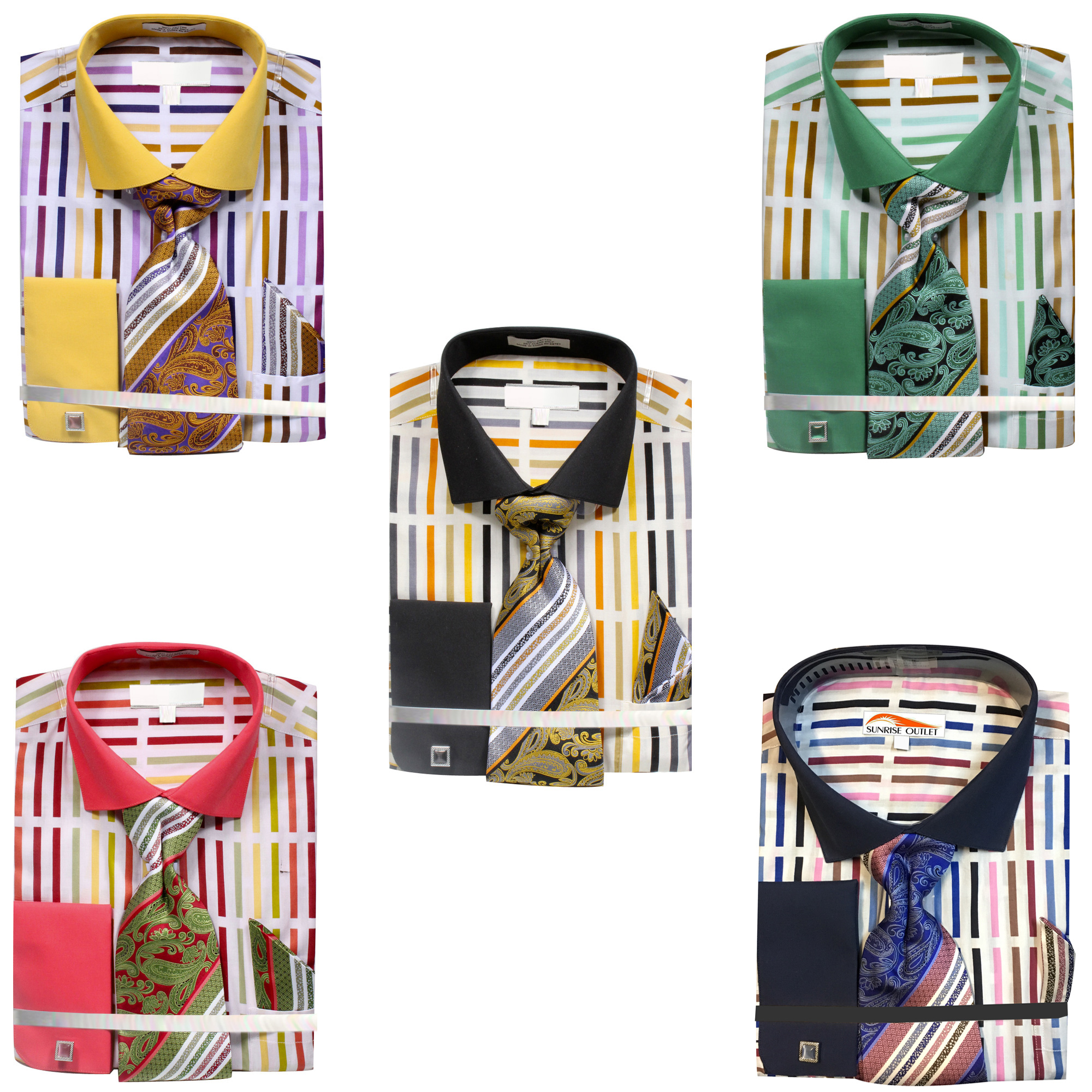Sunrise Outlet Mens Floral Print French Cuff Shirt Tie Hanky Cufflinks
